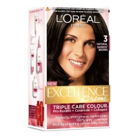LOREAL EXCELLENCE 3 NATURAL DARKEST BROWN COLOUR 72 ML+ 100.00 GM BOX