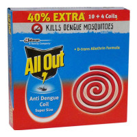 ALL OUT ANTI DENGUE COIL SUPER SIZE 10 COILS 1.00 No Packet