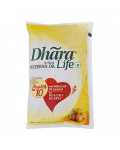 DHARA LIFE REFINED RICE BRAN OIL 1.00 LTR PACKET