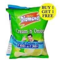 YELLOW DIAMOND POTATO CHIPS COMBO(PLAIN SALTED & CREAM ONION) 170 GM