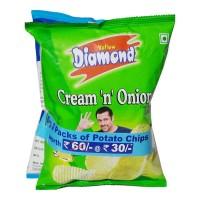 YELLOW DIAMOND POTATO CHIPS COMBO(PLAIN SALTED & CREAM ONION) 170.00 GM PACKET