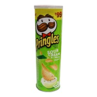 PRINGLES SOUR CREAM & ONION FLAVOUR POTATO CHIPS 110.00 GM JAR