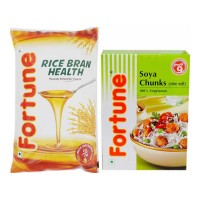 FORTUNE RICE BRAN OIL 1 LTR POUCH + SOYA CHUNKS 200 GM COMBO