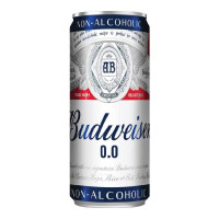 BUDWEISER 0.0 NON ALCOHOLIC BEER 330 ML CAN