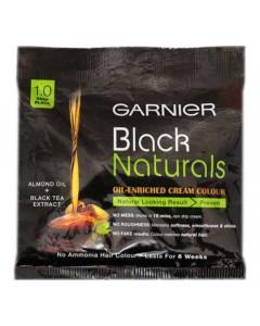GARNIER BLACK NATURALS 1.0 DEEP BLACK CREAM COLOUR 40 GM