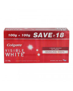 COLGATE VISIBLE WHITE SPARKLING MINT TOOTHPASTE 2X 100 GM BOX