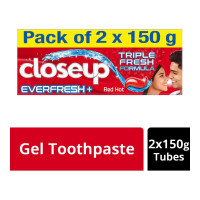 CLOSE-UP EVER FRESH RED HOT TOOTHPASTE 2X 150.00 GM BOX